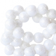 8 mm acrylic beads with glitter White