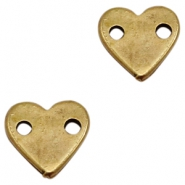 DQ metal charms connector heart Antique Bronze (Nickel Free)