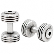 DQ metal charms dumbbell Antique Silver (Nickel Free)