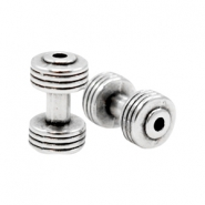 DQ metal charms dumbell Antique Silver (Nickel Free)