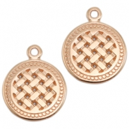 DQ metal charms round Rose Gold (Nickel Free)