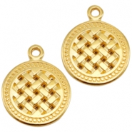 DQ metal charms round Gold (Nickel Free)