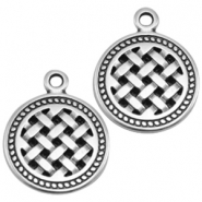 DQ metal charms round Antique Silver (Nickel Free)