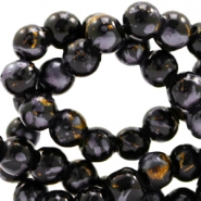 6 mm glass beads gold foil look Black Gold-Grey