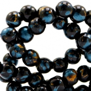 8 mm glass beads gold foil look Black Gold-Blue Zircon
