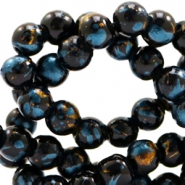 4 mm glass beads gold foil look Black Gold-Dark Turquoise Blue