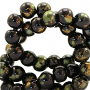 4 mm glass beads gold foil look Black Gold-Olive Green