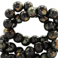 6 mm glass beads gold foil look Black Gold-Olive Green