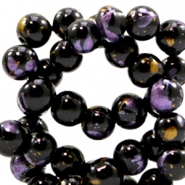 8 mm glass beads gold foil look Black Gold-Purple