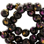 6 mm glass beads gold foil look Black Gold-Cherish Pink