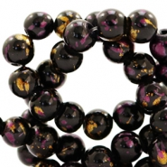 8 mm glass beads gold foil look Black Gold-Aubergine Purple