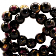 4 mm glass beads gold foil look Black Gold-Auburn Brown