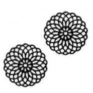 Bohemian charms 15mm round Black