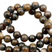 Shell beads round 8mm Multicolour Brown-Grey