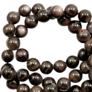 Shell beads round 6mm Multicolour Dark Brown-Grey