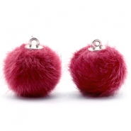 Faux fur pompom charms 16mm Cherish Pink