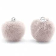 Faux fur pompom charms 16mm Taupe Grey