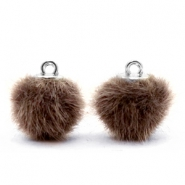 Faux fur pompom charms 12mm Classic Brown