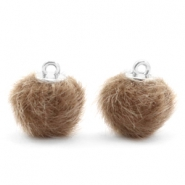 Faux fur pompom charms 12mm Timeless Taupe