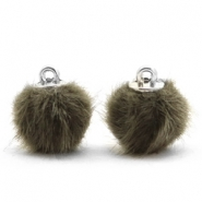 Faux fur pompom charms 12mm Olive Green