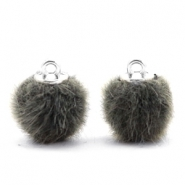 Faux fur pompom charms 12mm Sage Green