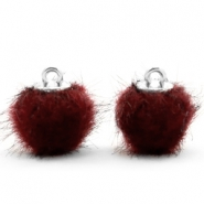 Faux fur pompom charms 12mm Port Red