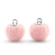 Faux fur pompom charms 12mm Light Pink