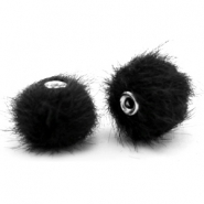 Faux fur pompom beads 12mm Black