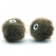 Faux fur pompom beads 12mm Olive Green