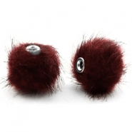 Faux fur pompom beads 12mm Port Red
