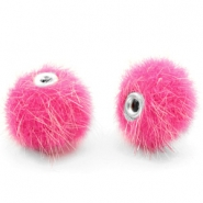 Faux fur pompom beads 12mm Magenta Pink