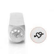 ImpressArt design stamps heart with arrow 6mm Silver