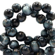 8 mm glass beads gold line Black-White