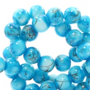 6 mm glass beads gold line Turquoise Blue-White