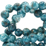 6 mm glass beads gold line Deep Teal Green-White