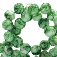 6 mm glass beads gold line Classic Green-White