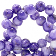 4 mm glass beads gold line Purple-White