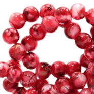8 mm glass beads gold line Ruby Red-White