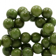 8 mm natural stone beads round Army Green