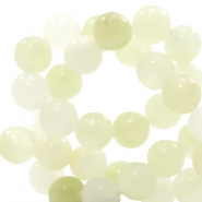 6 mm natural stone beads round Jade Mixed Morning Glow Green