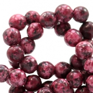 6 mm natural stone beads round Jade Multicolour Light Port Red