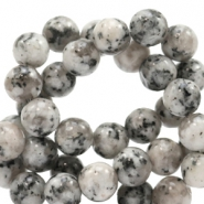 4 mm natural stone beads round Jade Mixed Natural Grey-Beige