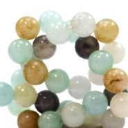 4 mm natural stone beads round Mixed Light Blue