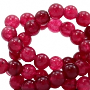 4 mm natural stone beads round Jade Soft Ruby Red