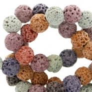 6 mm natural stone beads matt Lava Multicolour Brown-Blue