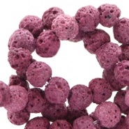 6 mm natural stone beads matt Lava Cherry Purple