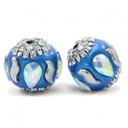 Bohemian beads 16mm Olympic Blue-Silver Crystal