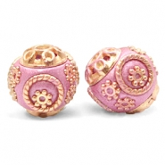 Bohemian beads 14mm Metallic Dark Pink-Gold