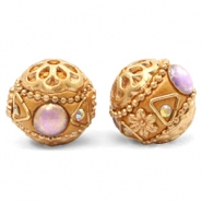 Bohemian beads 16mm Purple-Apricot Gold