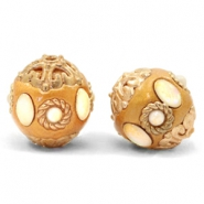 Bohemian beads 16mm Golden Coast Brown-Gold